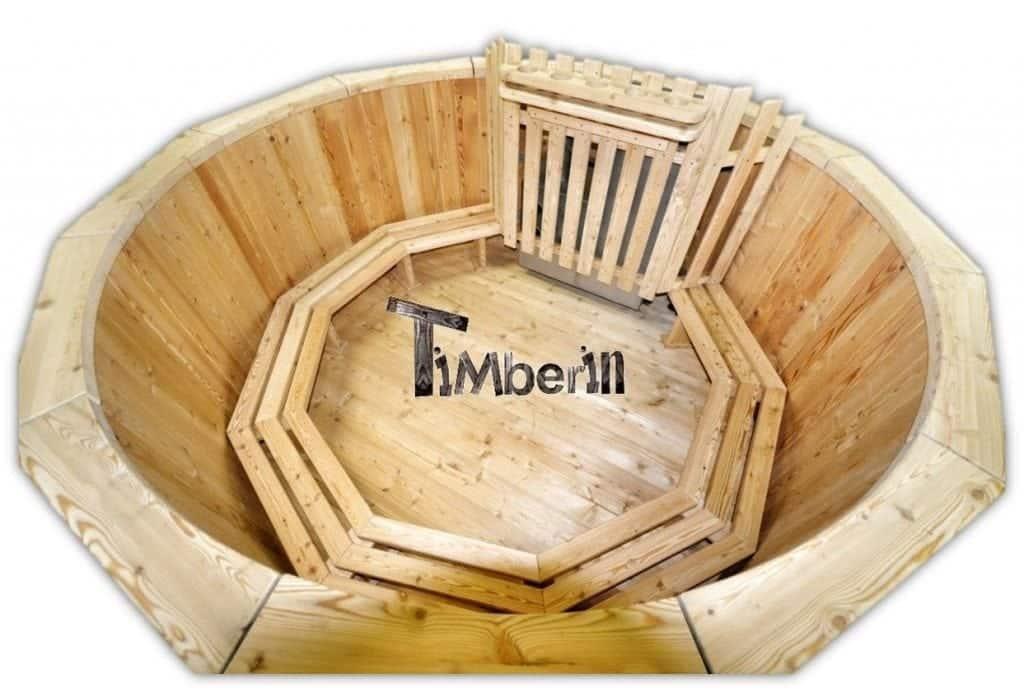 Badezuber aus Holz mit Holzofen Fichte - Lärche