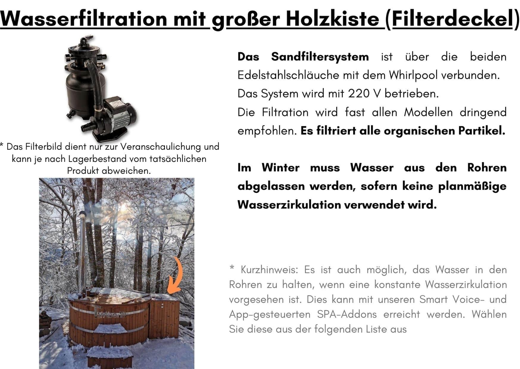 Wasserfiltration mit grosser Holzkiste Filterdeckel