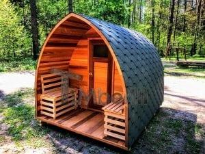 Outdoor Garten Holz Sauna Fasssauna Aussensauna rote Zeder mit Elektroheizung und Veranda 1
