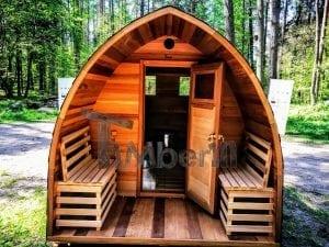Outdoor Garten Holz Sauna Fasssauna Aussensauna rote Zeder mit Elektroheizung und Veranda 10