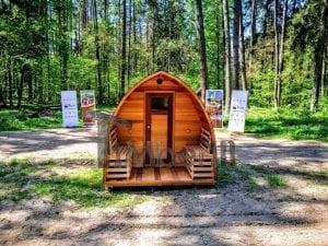 Outdoor Garten Holz Sauna Fasssauna Aussensauna rote Zeder mit Elektroheizung und Veranda 11