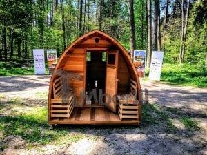 Outdoor Garten Holz Sauna Fasssauna Aussensauna rote Zeder mit Elektroheizung und Veranda 13