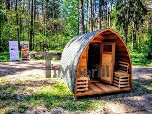 Outdoor Garten Holz Sauna Fasssauna Aussensauna rote Zeder mit Elektroheizung und Veranda 14