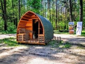 Outdoor Garten Holz Sauna Fasssauna Aussensauna rote Zeder mit Elektroheizung und Veranda 15