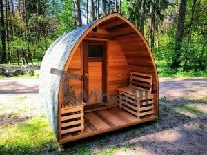 Outdoor Garten Holz Sauna Fasssauna Aussensauna rote Zeder mit Elektroheizung und Veranda 19