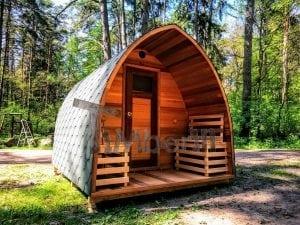 Outdoor Garten Holz Sauna Fasssauna Aussensauna rote Zeder mit Elektroheizung und Veranda 3