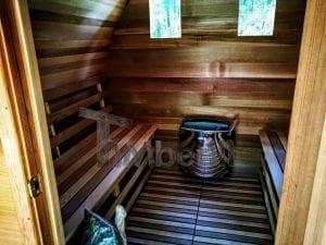 Outdoor Garten Holz Sauna Fasssauna Aussensauna rote Zeder mit Elektroheizung und Veranda 5
