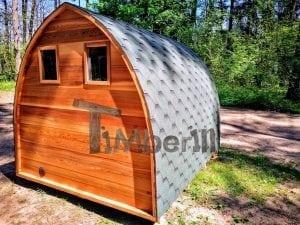 Outdoor Garten Holz Sauna Fasssauna Aussensauna rote Zeder mit Elektroheizung und Veranda 6