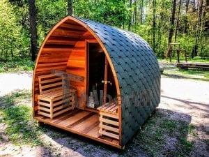 Outdoor Garten Holz Sauna Fasssauna Aussensauna rote Zeder mit Elektroheizung und Veranda 7