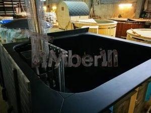 Badetonne eckig Micro Pool Eiche mit Innenofen 13