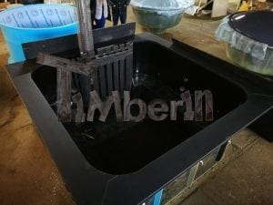 Badetonne eckig Micro Pool Eiche mit Innenofen 4
