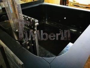 Badetonne eckig Micro Pool Eiche mit Innenofen 5