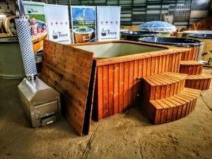 Badetonne mit Kunststoffeinsatz rechteckig mit externem Holzofen 11