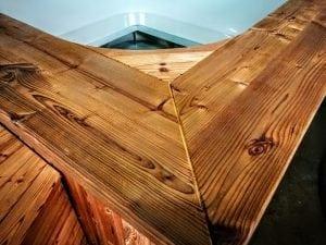 Badetonne mit Kunststoffeinsatz rechteckig mit externem Holzofen 13