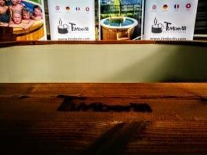 Badetonne mit Kunststoffeinsatz rechteckig mit externem Holzofen 14