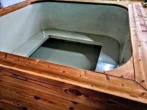 Badetonne mit Kunststoffeinsatz rechteckig mit externem Holzofen 16