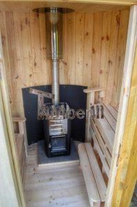 Vertikal Sauna aus Holz mit Elektroofen oder Holzofen 10