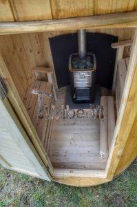 Vertikal Sauna aus Holz mit Elektroofen oder Holzofen 12