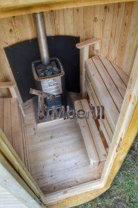 Vertikal Sauna aus Holz mit Elektroofen oder Holzofen 13