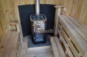 Vertikal Sauna aus Holz mit Elektroofen oder Holzofen 14