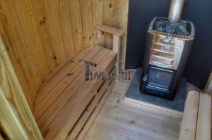 Vertikal Sauna aus Holz mit Elektroofen oder Holzofen 16