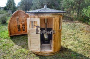 Vertikal Sauna aus Holz mit Elektroofen oder Holzofen 2