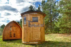 Vertikal Sauna aus Holz mit Elektroofen oder Holzofen 3