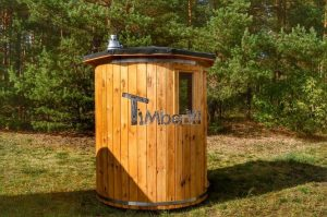 Vertikal Sauna aus Holz mit Elektroofen oder Holzofen 4