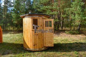 Vertikal Sauna aus Holz mit Elektroofen oder Holzofen 7