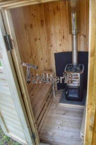 Vertikal Sauna aus Holz mit Elektroofen oder Holzofen 9