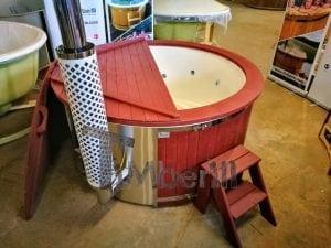 Badezuber GFK Wellness Royal mit Holzfärbung rot 2