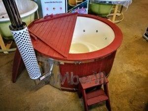 Badezuber GFK Wellness Royal mit Holzfärbung rot 3