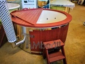 Badezuber GFK Wellness Royal mit Holzfärbung rot 8