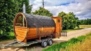 Fasssauna mobile mit Vorraum und Holzofen kaufen