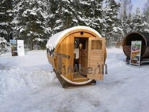 Saunafass 4m Mit Vollem Panoramafenster Vorraum Und Holzofen